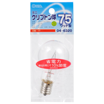 ミニクリプトン球 75形相当 PS-45 E17 クリア [品番]04-6320