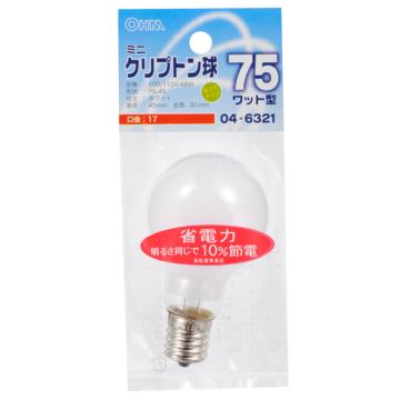 ミニクリプトン球 75形相当 PS-45 E17 ホワイト [品番]04-6321