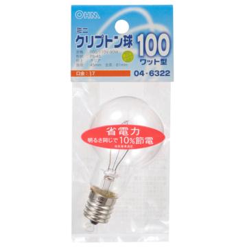 ミニクリプトン球 100形相当 PS-45 E17 クリア [品番]04-6322