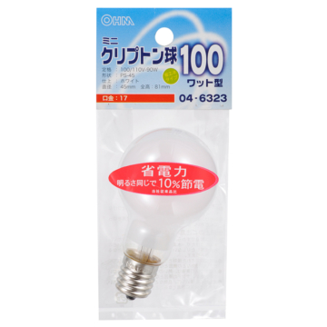 ミニクリプトン球 100形相当 PS-45 E17 ホワイト [品番]04-6323