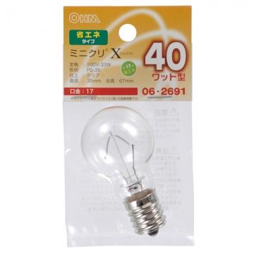 ミニクリプトン球 40形相当 PS-35 E17 クリア [品番]06-2691