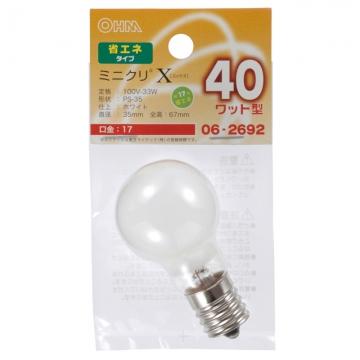 ミニクリプトン球 40形相当 PS-35 E17 ホワイト [品番]06-2692
