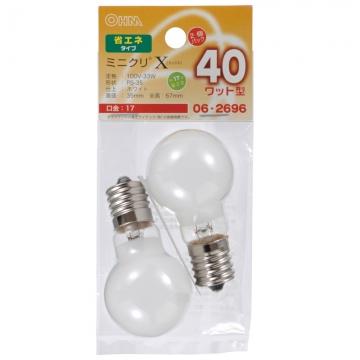 ミニクリプトン球 40形相当 PS-35 E17 ホワイト 2個入 [品番]06-2696