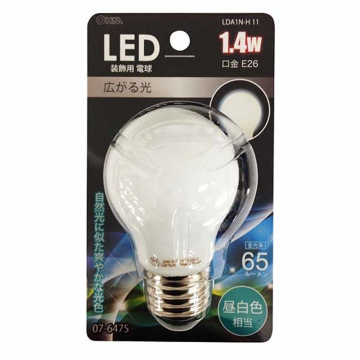 LED電球装飾用 PS/E26/1.4W/65lm/昼白色 [品番]07-6475