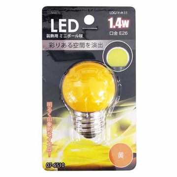 LEDミニボール球装飾用 G40/E26/1.4W/黄色 [品番]07-6510