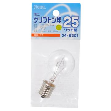 ミニクリプトン球 25形相当 PS-35 E17 クリア [品番]04-6301
