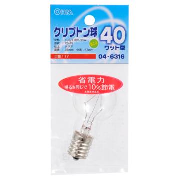 ミニクリプトン球 40形相当 PS-35 E17 クリア [品番]04-6316