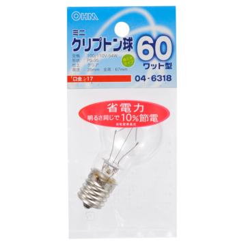 ミニクリプトン球 60形相当 PS-35 E17 クリア [品番]04-6318