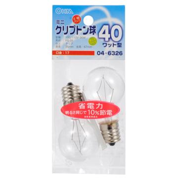 ミニクリプトン球 40形相当 PS-35 E17 クリア 2個入 [品番]04-6326
