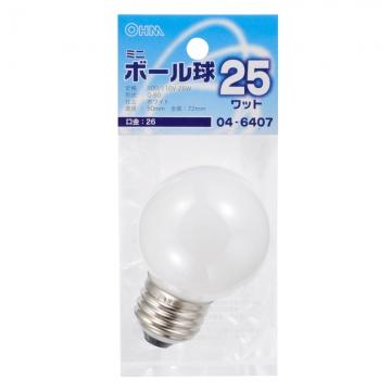 ミニボール球 G50 E26/25W ホワイト [品番]04-6407