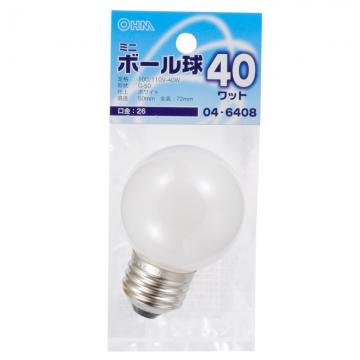 ミニボール球 G50 E26/40W ホワイト [品番]04-6408