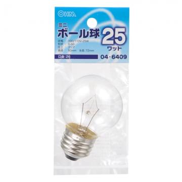 ミニボール球 G50 E26/25W クリア [品番]04-6409