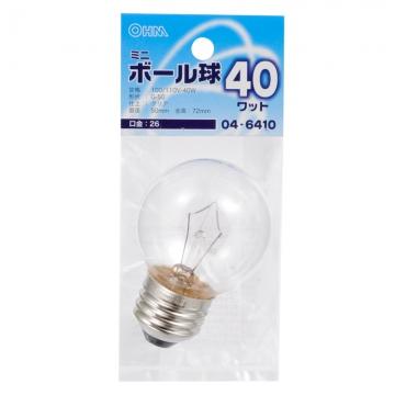 ミニボール球 G50 E26/40W クリア [品番]04-6410