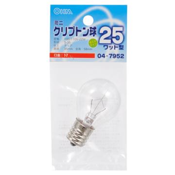 ミニクリプトン球 25形相当 S-35 E17クリア [品番]04-7952