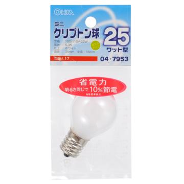 ミニクリプトン球 25形相当 S-35 E17 ホワイト [品番]04-7953