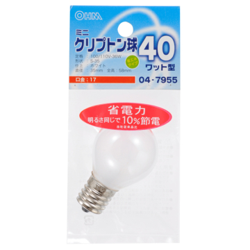 ミニクリプトン球 40形相当 S-35 E17 ホワイト [品番]04-7955