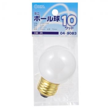 ミニボール球 G50 E26/10W ホワイト [品番]04-9083