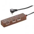 個別押しボタンスイッチ付き 節電タップ 3個口 1.5m ブラウン [品番]00-1148