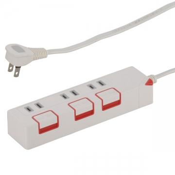 押しボタンスイッチ付き 節電タップ 3個口 1.5m [品番]00-1175