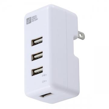 USB電源タップ 4ポート 白 [品番]01-3383