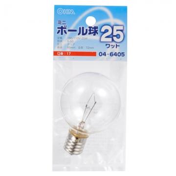 ミニボール球 G50 E17/25W クリア [品番]04-6405