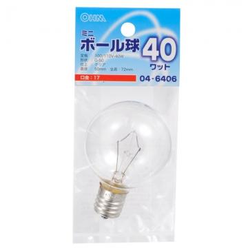 ミニボール球 G50 E17/40W クリア [品番]04-6406