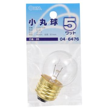 ミニボール球 G40 E26/5W クリア [品番]04-6476
