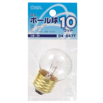 ミニボール球 G40 E26/10W クリア [品番]04-6477