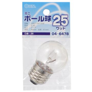 ミニボール球 G40 E26/25W クリア [品番]04-6478