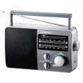 AudioComm AM/FM ポータブルラジオ グレー [品番]07-7775
