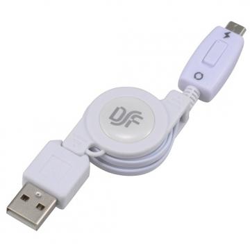 USB伸縮ケーブル 充電・通信切替スイッチタイプ スマートフォン用 [品番]01-3386