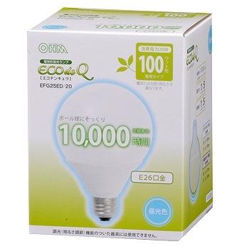 電球形蛍光灯 ボール形 E26 100形相当 昼光色 エコデンキュウ [品番]04-1445