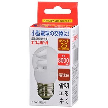 電球形蛍光灯 E26 25形相当 電球色 エコなボール [品番]04-3205