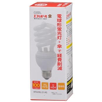電球形蛍光灯 スパイラル形 E26 100形相当 電球色 エコなボール [品番]04-8358