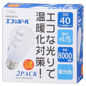電球形蛍光灯 E26 40形相当 昼光色 エコなボール 2個入 [品番]04-9235