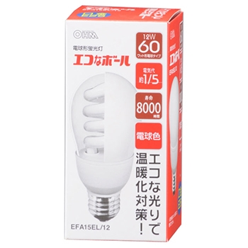 電球形蛍光灯 E26 60形相当 電球色 エコなボール [品番]04-9300