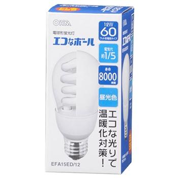 電球形蛍光灯 E26 60形相当 昼光色 エコなボール [品番]04-9400