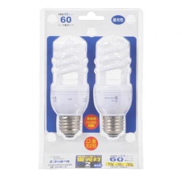 電球形蛍光灯 スパイラル形 E26 60形相当 昼光色 エコなボール 2個入 [品番]04-9913