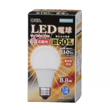 LED電球 60形相当 E26 電球色 広配光 密閉器具対応 [品番]06-3099