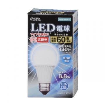 LED電球 60形相当 E26 昼白色 広配光 密閉器具対応 [品番]06-3100