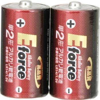 アルカリ乾電池 E force 単2形×2本パック [品番]07-2922