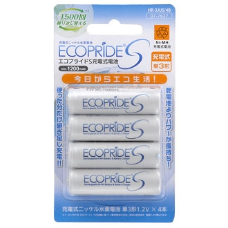 充電式電池 エコプライドS 単3形×4本入 [品番]07-7627