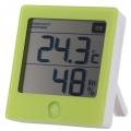 健康サポート機能付き デジタル温湿度計 グリーン [品番]08-0228