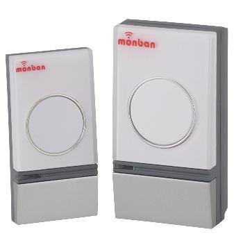 monban ワイヤレスチャイム 押しボタン送信機+AC電源式受信機 [品番]08-0502