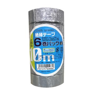 絶縁テープ 10m 6巻パック 灰 [品番]00-0468