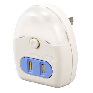 LEDナイトライト コンセント付 ホワイト 白色LED [品番]04-0347