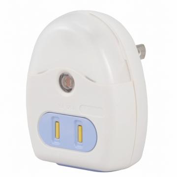 LEDナイトライト 明暗センサー コンセント付 ホワイト 白色LED [品番]04-0359