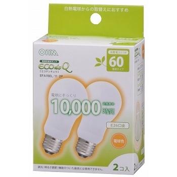 電球形蛍光灯 E26 60形相当 電球色 エコデンキュウ 2個入 [品番]04-0523