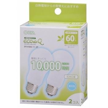 電球形蛍光灯 E26 60形相当 昼光色 エコデンキュウ 2個入 [品番]04-0524