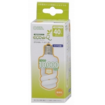 電球形蛍光灯 スパイラル形 E17 40形相当 電球色 エコデンキュウ [品番]04-0744